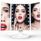 TriFold Illuminated Vanity Makeup Mirror, with 21 LED, Touch Screen, 180° Adjust