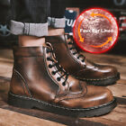 Men's Fashion Ankle Boots Casual Lace Up High Top Leather Oxfords Brogue Shoes
