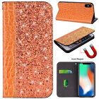 For iPhone XS Max XR 8 7 6s Bling Leather Magnet Flip Card Slot Phone Case Cover