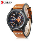 CURREN Quartz Watches Casual Leather Strap Calendar Wristwatch Dial Men 6 Colors