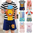 Baby Boys Girls Cartoon Short Sleeve T-Shirt Tops+Pants Outfits Nightwear Home