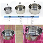 Pet Hang-on Metal Bowl Dog Cat Crate Cage Food Water Bowl Stainless Steel S/M/L