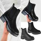 Womens Black Stud Studded Chunky Ankle Boots Pull On Chelsea Stretch Spike Punk