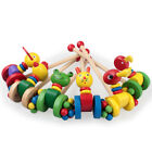 Push and Pull Along Toy Handcrafted Gift Cock Frog Cat Duck Kids Wooden Small