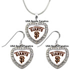 San Francisco Giants 925 Necklace / Earrings or Set Team Heart With Rhinestones. on Ebay