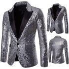 Mens Casual Slim Fit One Button Suit Clubwear Blazer Sequin Jacket With Pocket