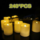 NEW 24 48 72 96 240PCS Flameless Votive Candles LED Tea Light Battery Flickering
