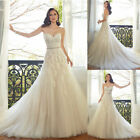 2019 Sweetheart Chapel Train Corset Tulle Wedding Dress Bridal Gowns Appliques