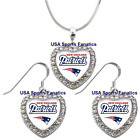 New England Patriots 925 Necklace / Earrings or Set Team Heart With Rhinestones. $14.99 USD on eBay