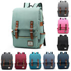 US Unisex Canvas Backpack School Travel Rucksack Laptop Satchel Shoulder Bag image
