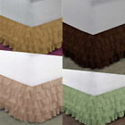 "1 SOLID BEDDING DRESSING BED RUFFLED SKIRT MULTILAYERED PLATFORM 20"" INCH DROP  image"