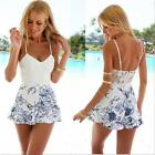 Women Sexy Strap Jumpsuit Backless Floral Printed Romper