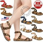 Внешний вид - NEW Women Sandals Slide Buckle T-Strap Cork Footbed Platform Flip Flop Shoes