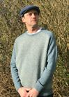 Aran Woollen Mills Irish Made Aran Blue Herringbone Crew Neck Sweater r728 Sale
