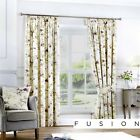 Fusion Jeannie Floral 100% Cotton Fully Lined Pencil Pleat Curtains Heather
