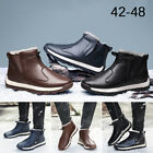 Mens Waterproof PU Leather Fur Lining Ankle Boots Slip On Snow Shoes Winter Warm