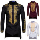 Mens African Clothing Gold Printing Long Sleeve Top T Shirt Blouse Casual Tops