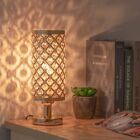 Modern Nightstand Desk Lamp with Beads Lampshade Metal Base Stylish Bedside Lamp