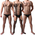 Sissy Mens Pouch Bodysuit Fishnet See Through Bodystocking Thong Jumpsuits
