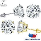 14K Solid Gold Round Solitaire Cut Cubic Zirconia Screw Back Stud Earrings image
