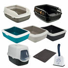 Trixie Large Open Hooded Cat Kitten Deep Litter Box Tray With Rim Blue / Black
