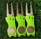 Golf Green Divot Repair Tool Ball Marker Putting Fork Pitch Groove Cleaner Alloy