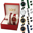 Women's Burgi BUR241 Crystal Bracelet Earring Jewelry Leather Watch Box Gift Set