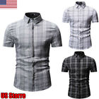 Men's Slim Fit Short Sleeve Muscle Tee Tartan Plaid T-shirt Casual Tops Shirts image