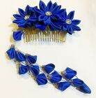 Japanese Kanzashi Flower Hair Comb in Royal Blue Color with Tassle