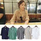HOT Women Tops Linen Button Down Loose Casual Career Shirt Long Sleeve Blouse