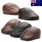 Mens Real Leather Cap With Ear Flap Driving Newsboy Beret Golf Cabbie Baker Flat
