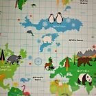 Fryetts Childrens World Map Cotton Oilcloth WIPE CLEAN PVC TABLECLOTH