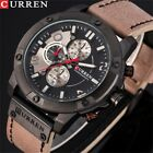 Men's Fashion Sport Watches Military Leather Band Quartz Wrist Watch CURREN 8285 image