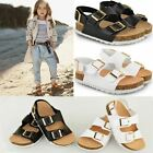 Kids Childrens Flat Baby Open Toe Sandals Faux Leather Cushioned Comfort Buckle