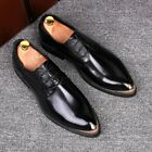 Mens Pointed Toe Metal Lace Up Block Low Heel Leather Shoes Leisure Night Club