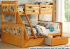 Wooden Triple Sleeper Bunk Beds In Oak With Drawers - 3ft & Double Storage Bed