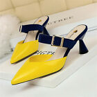 Womens Pointed Toe Sandals Low Block Heel Slippers Leather Shoes Pumps Summer