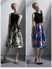 Womens Sleeveless Pleated Floral Printed A Line Dress Graceful Party Gown 2019