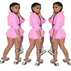 New Women Fashion Long Sleeve Zipper Solid Crop Bodycon Club Short Jumpsuit 2pc