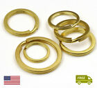 Split Ring Flat Surface Key Rings Double Loop Brass Keychain Gold Color
