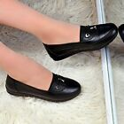 Women Comfort Real Leather Shoes Ladies Loafers Padded Casual Work Pumps Size