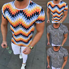 Fashion Men Striped Slim Fit T-Shirt Gym Sport Muscle Fitness Summer Casual Tops image