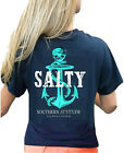 Southern Attitude Salty Pirate Anchor Navy Blue Womens T Shirt