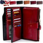 Women Genuine Leather Long Wallet Money Card Holder Clutch Purse RFID Blocking image