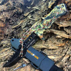 """NEW 12"""" Hunt-Down Forest Camo Tanto Blade Fixed Hunting Knife + Fire Starter"""