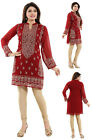 Women Indian Long Sleeves Kurti Eid Tunic Red Embroidery Kurta Shirt Dress AN04
