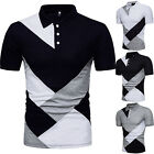 Mens Slim Fit Polo Shirts Short Sleeve Geometric Golf Tops Blouse Jersey T-Shirt image