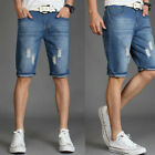 Mens Denim Shorts Stretch Regular Fit Distressed Ripped Half Jeans Pants UK