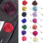 Men's Handmade Rose Flower Lapel Brooch Pin Suit Tuxedo Wedding Boutonniere Gift image