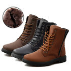New Men's Solid Leather High Top casual Combat Boots Flat Lace Up Casual Shoes